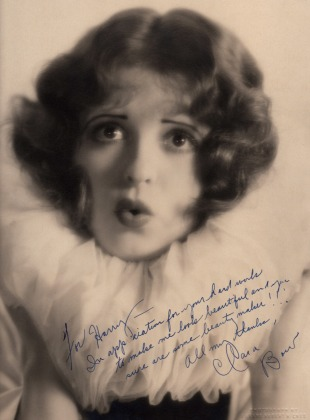 """""""For Henry - In appreciation for your hard work to make me look beautiful and you sure are some beauty maker!!! All my thanks, Clara Bow"""" Courtesy of the Clara Bow Archive"""